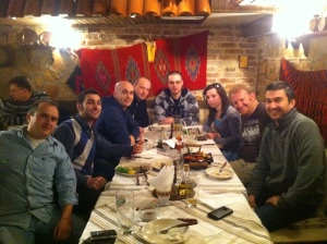 Having a great meal in Bulgaria with locals