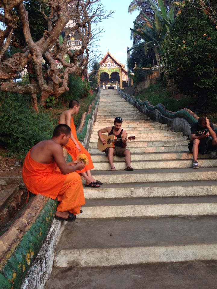 Gyitar music with laotian monks