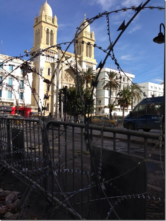 Tunis cathedral with razor wire