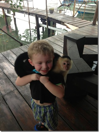 baby with monkey