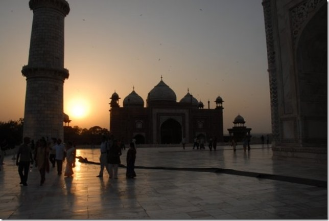 From Taj Mahal, side buildings at Sundown