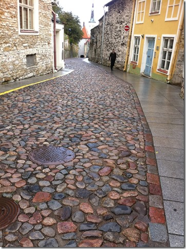 cobble stone street in old town