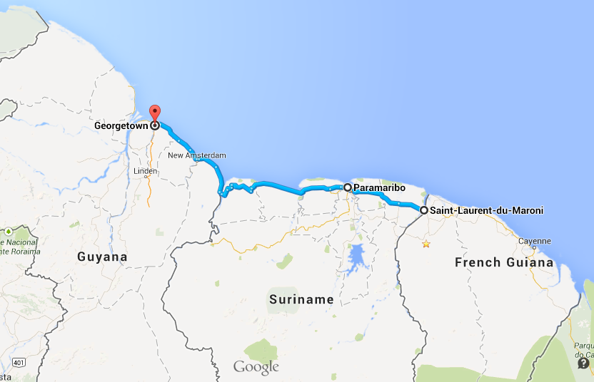Black Water Traveling Epic - South america french guiana map